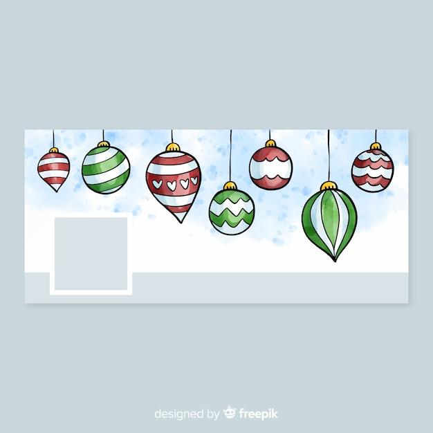 Tampa do facebook do design de Natal em aquarela Vetor grátis 6a439fb7fb69e