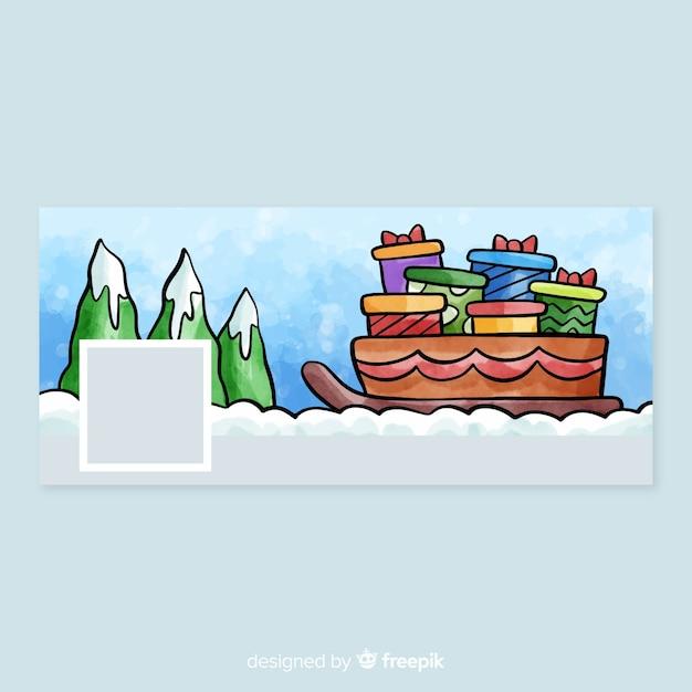 Tampa do facebook do design de natal em aquarela Vetor grátis