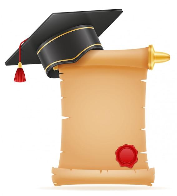 Tampão quadrado do mortarboard da graduação académica. Vetor Premium