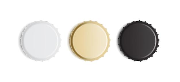 Tampas de garrafa brancas, douradas e pretas isoladas Vetor Premium