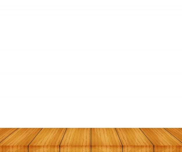 Tampo da mesa de madeira de vetor no fundo branco Vetor Premium