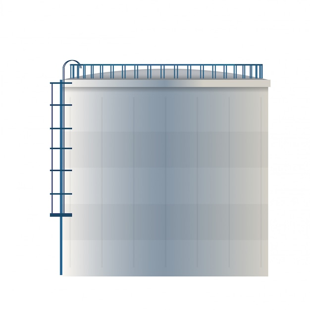 Tanque de água, reservatório de armazenamento de óleo cru, cilindro. Vetor Premium
