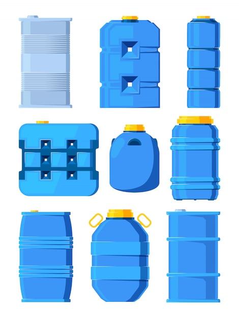 Tanques de água. conjunto de vários barris em estilo cartoon Vetor Premium