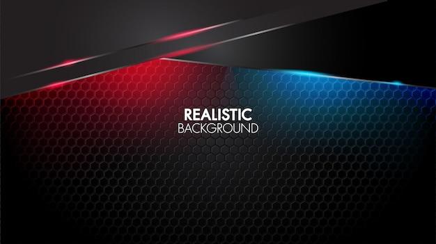 Tapete preto abstrato fundo geométrico elegante futurista brilhante luz vermelha e azul Vetor Premium