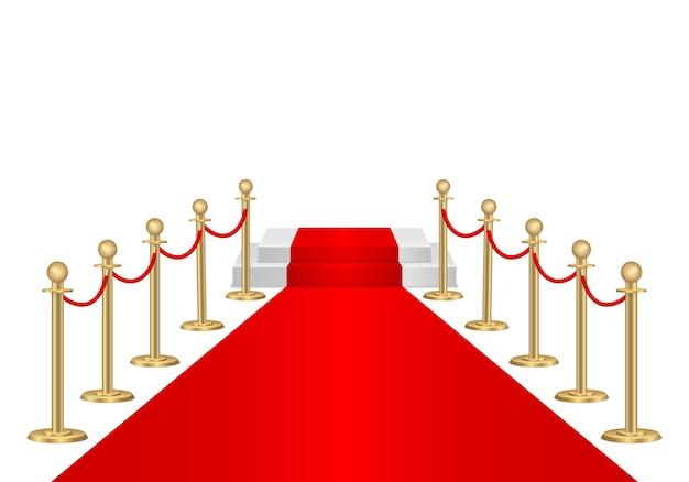 Tapete vermelho e barreiras de caminho 3d. evento vip, celebração de luxo. postes de barreira de corda de fila de ouro. cerimônia de show de estreia. entrada de luxo para evento vip ou festa de celebridades. ilustração vetorial Vetor Premium