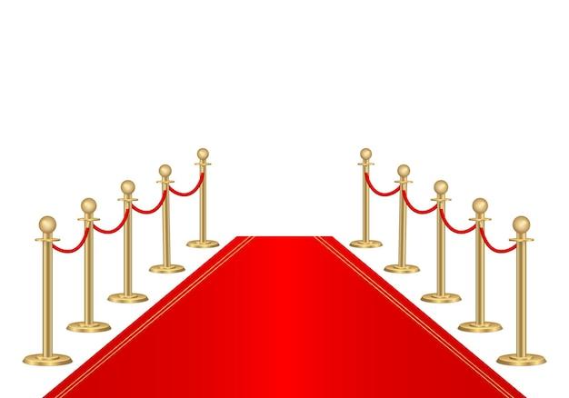 Tapete vermelho e barreiras de caminho. evento vip, celebração de luxo. Vetor Premium