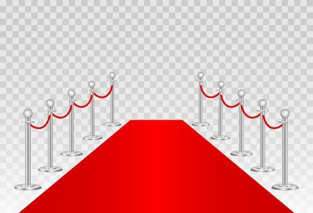 Tapete vermelho e barreiras de caminho Vetor Premium