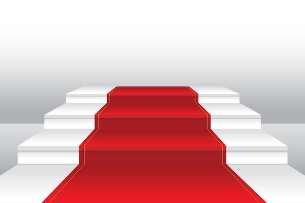 Tapete vermelho na ilustração realista de escadaria Vetor Premium