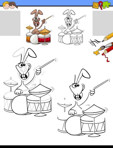 Tarefa de desenho e colorir com coelho tocando bateria Vetor Premium