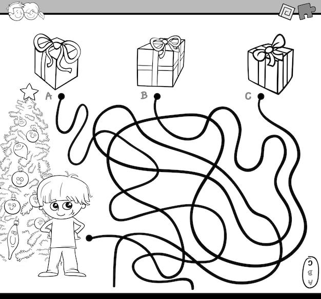 Tarefa de labirinto de caminho para colorir Vetor Premium