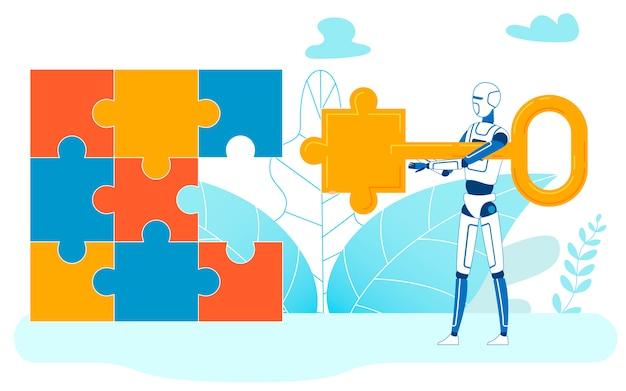 Tarefa de resolução de aprendizado de máquina, quebra-cabeças concluídos Vetor Premium