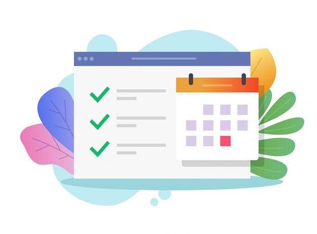 Tarefa on-line do calendário da web e lista de tarefas importantes Vetor Premium