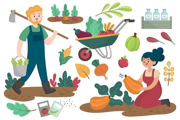 Tarefas diárias do conceito de agricultura orgânica Vetor grátis
