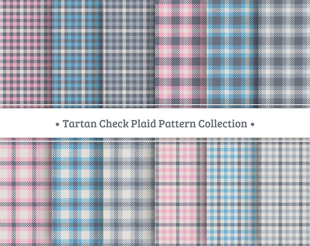 Tartan check plaid seamless pattern set Vetor Premium