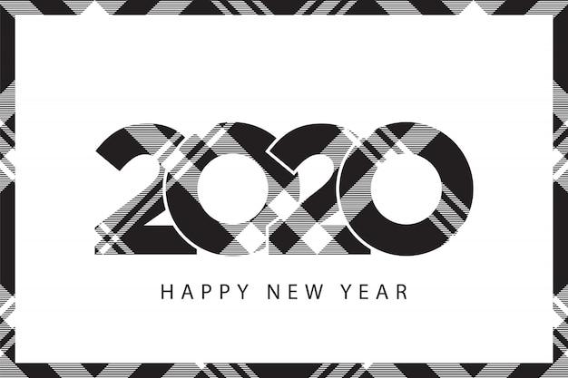 Tartan xadrez 2020 feliz ano novo preto branco quadro de seleção Vetor Premium