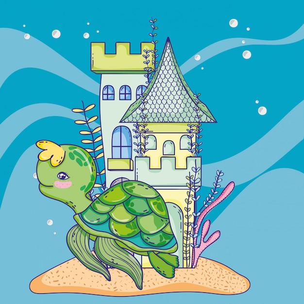 Tartaruga animal com plantas de castelo e algas Vetor Premium
