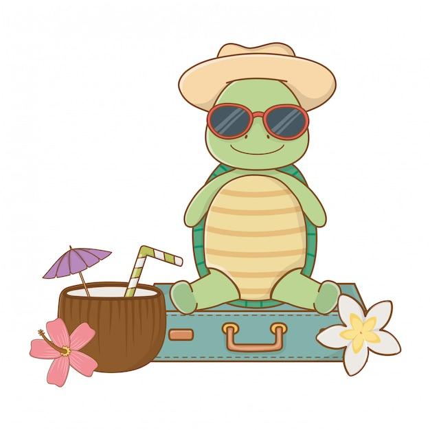 Tartaruga bonita, aproveitando as férias de verão Vetor Premium