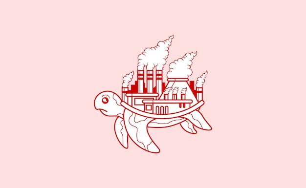 Tartaruga com uma fábrica poluída em sua ilustração de volta Vetor Premium