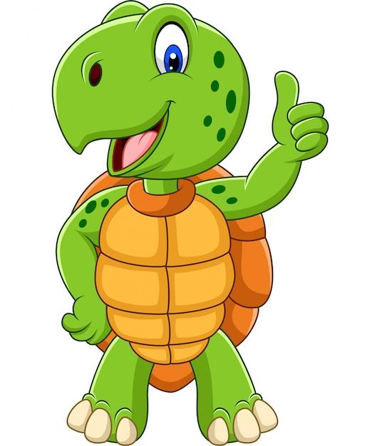 Tartaruga de desenho animado dando um polegar para cima Vetor Premium