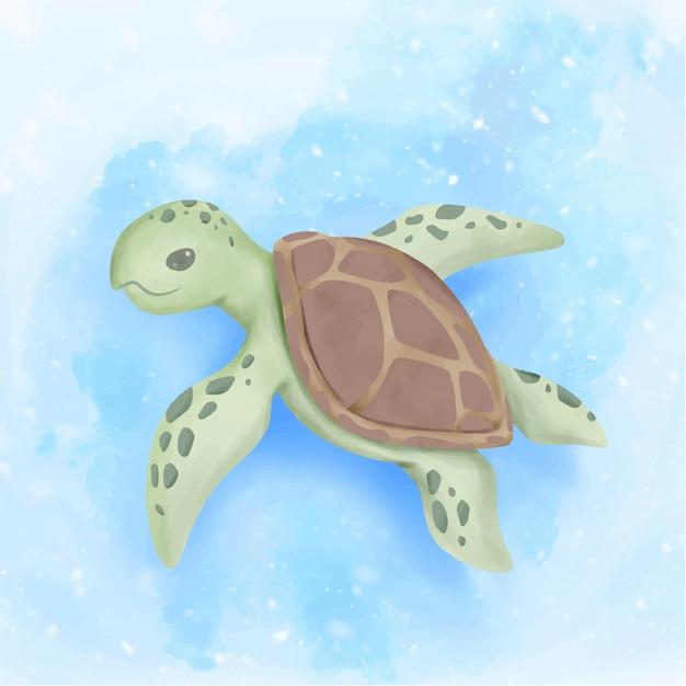 Tartaruga de mar bonito nadar sob o oceano Vetor Premium