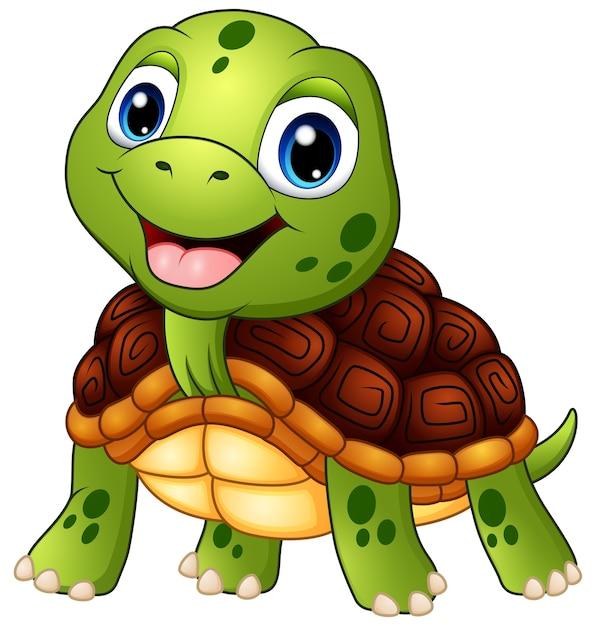 Tartaruga Fofa Dos Desenhos Animados Sorrindo Vetor Premium