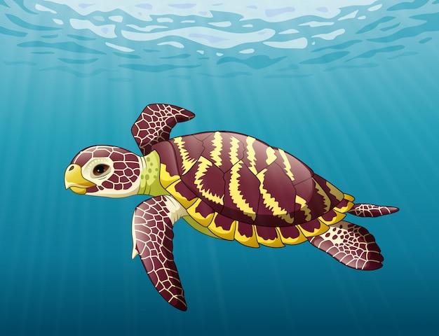 Tartaruga marinha dos desenhos animados, nadar no oceano Vetor Premium