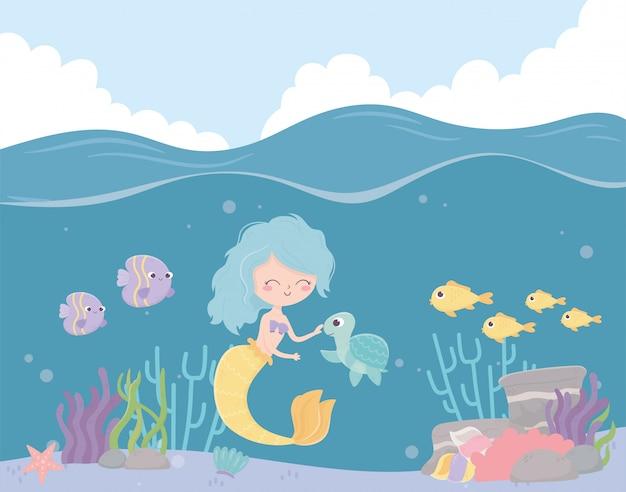 Tartaruga sereia peixes recife coral dos desenhos animados sob a ilustração vetorial de mar Vetor Premium