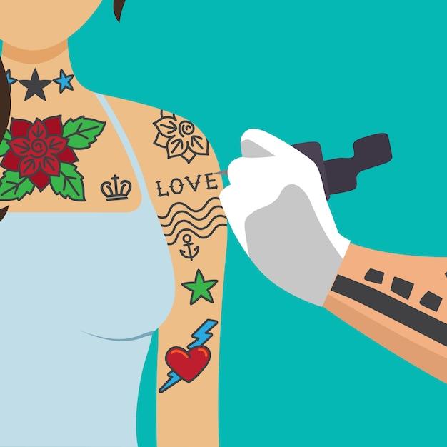 Tatuador artista pintura menina braço Vetor Premium