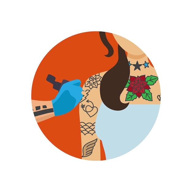 Tatuador artista pintura mulher corpo Vetor Premium