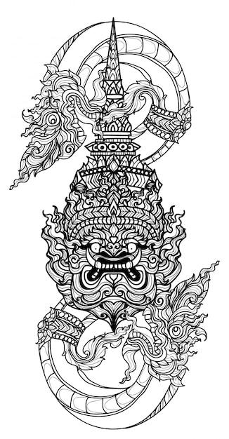 Tatuagem arte cobra tailandesa e literatura gigante mão desenho desenho Vetor Premium
