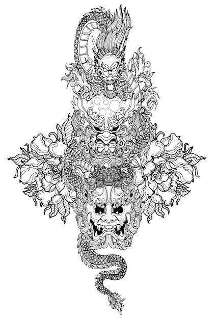 Tatuagem arte dargon mão desenho e desenho preto e branco Vetor Premium