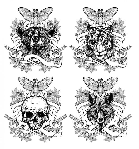 Tatuagem Arte Desenho Animal E Desenho Preto E Branco Com