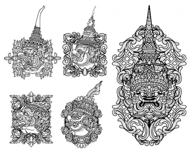 Tatuagem arte gigante conjunto mão desenho e desenho preto e branco Vetor Premium