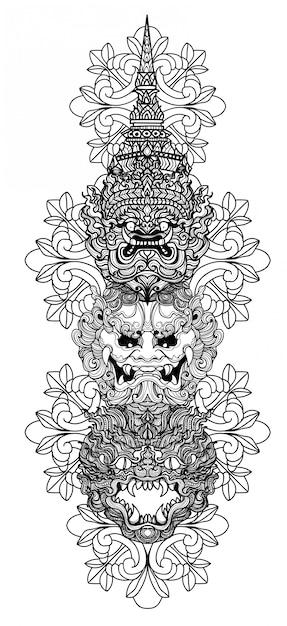 Tatuagem arte mão gigante de desenho e esboço preto e branco Vetor Premium