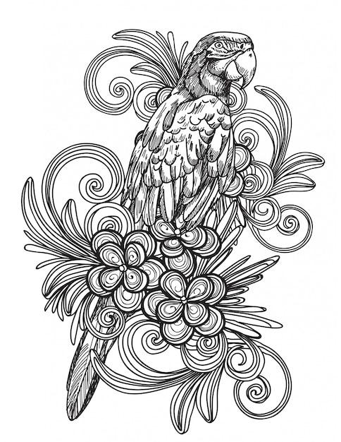 Tatuagem arte mão pássaro desenho e esboço preto e branco isolado Vetor Premium