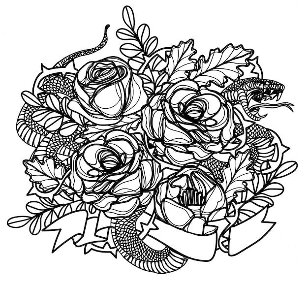 Tatuagem arte snak e flor desenho e desenho preto e branco Vetor Premium