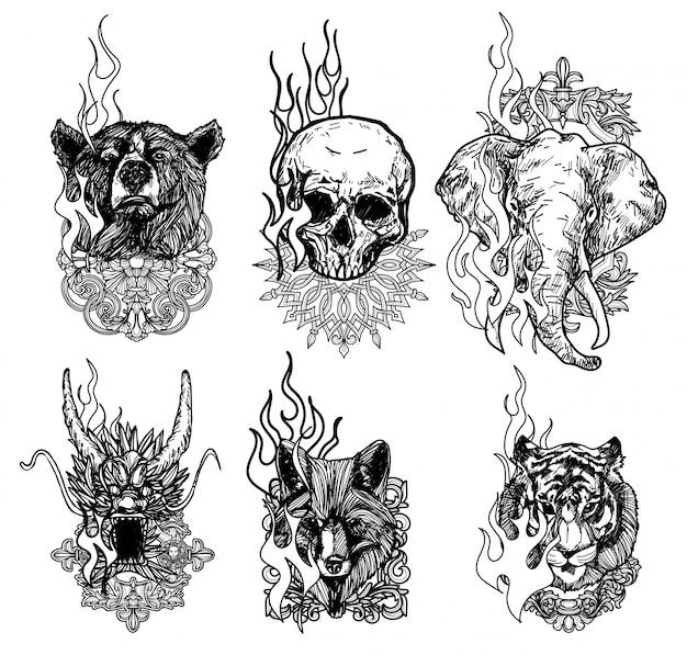 Tatuagem Arte Tigre Dragao Lobo Elefante Cranio Desenho E Desenho