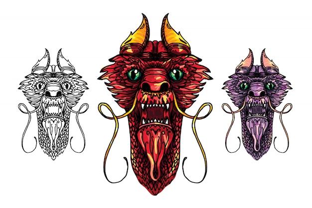 Tatuagem cabeça de dragão Vetor Premium