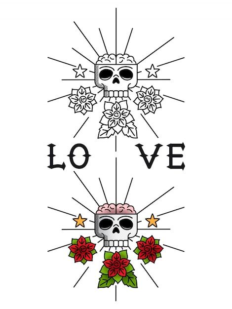 Tatuagem caveira e flores Vetor Premium