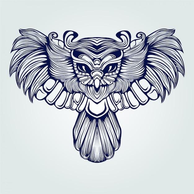 Tatuagem de arte linha coruja voadora Vetor Premium