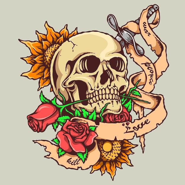 Tatuagem De Caveira Com Rosa E Banner Vetor Premium