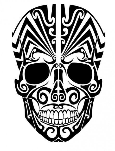 Tatuagem De Caveira Tribal Do Ponto De Vista Frontal Vetor Gratis