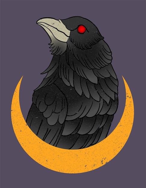 Tatuagem de corvo Vetor Premium