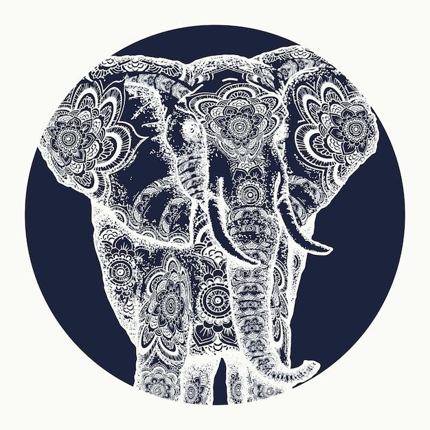 Tatuagem de elefante Vetor Premium
