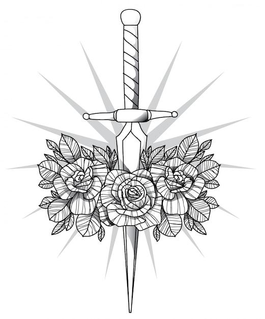 Tatuagem de flor Vetor Premium