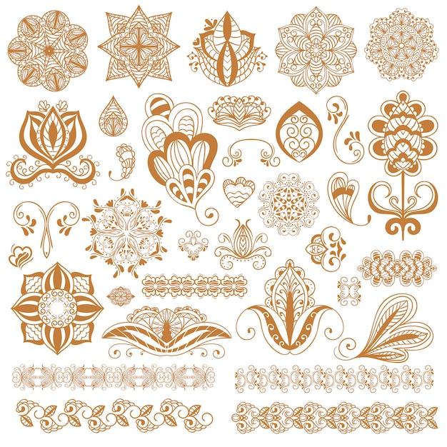 Tatuagem de henna mehndi conjunto de flores Vetor Premium