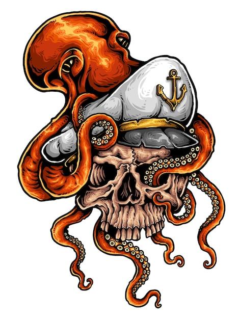 Tatuagem de marinheiro de crânio Vetor Premium