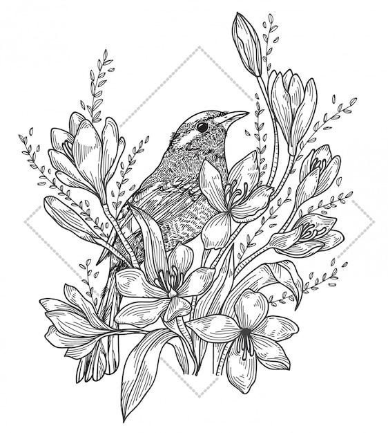 Tatuagem de pássaro Vetor Premium