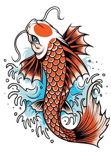 Tatuagem de peixe koi Vetor Premium