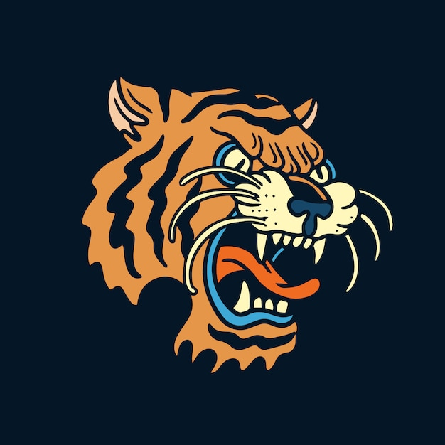 Tatuagem de velha escola tigre zangado laranja Vetor Premium